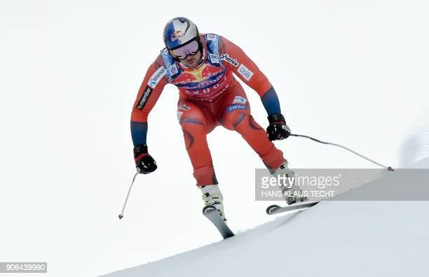 Aksel Lund Svindal of Norway performs during a training session of the FIS Alpine World Cup Men's downhill event in Kitzbuehel Austria on January 18...