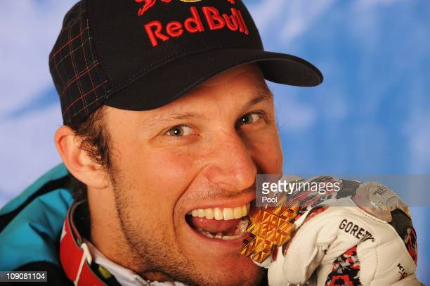 Aksel Lund Svindal of Norway poses with his gold medal for winning the the Men's Super Combined during the Alpine FIS Ski World Championships on...