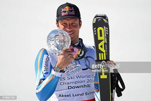 Aksel Lund Svindal of Norway poses with the crystal globe after winning the overall downhill title at the Audi FIS Alpine Skiing World Cup Finals...