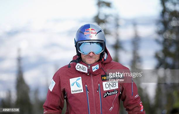 Aksel Lund Svindal of Norway prepares for the start of a downhill training run for the Audi FIS Ski World Cup on the Birds of Prey on December 3 2015...