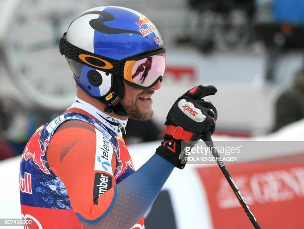 Aksel Lund Svindal of Norway reacts after competing in the men's downhill event at the FIS Alpine World Cup in Kitzbuehel Austria on January 20 2018...