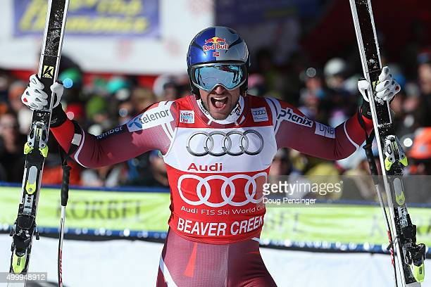 Aksel Lund Svindal of Norway reacts after his finish in the men's downhill at the 2015 Audi FIS Ski World Cup on the Birds of Prey on December 4 2015...