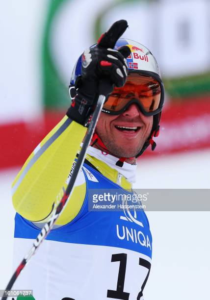 Aksel Lund Svindal of Norway reacts in the finish area after skiing in the Men's Downhill during the Alpine FIS Ski World Championships on February 9...