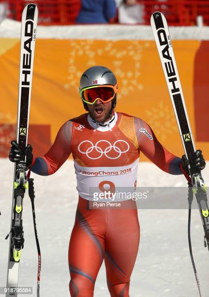 Aksel Lund Svindal of Norway reacts on the finish during the Men's SuperG on day seven of the PyeongChang 2018 Winter Olympic Games at Jeongseon...