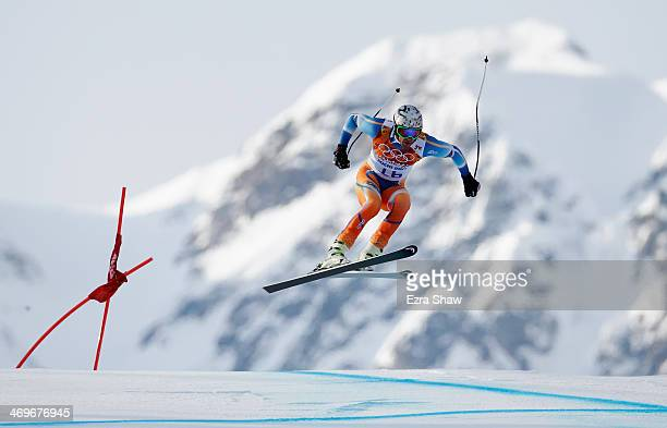Aksel Lund Svindal of Norway skis during the Alpine Skiing Men's Super-G on day 9 of the Sochi 2014 Winter Olympics at Rosa Khutor Alpine Center on...