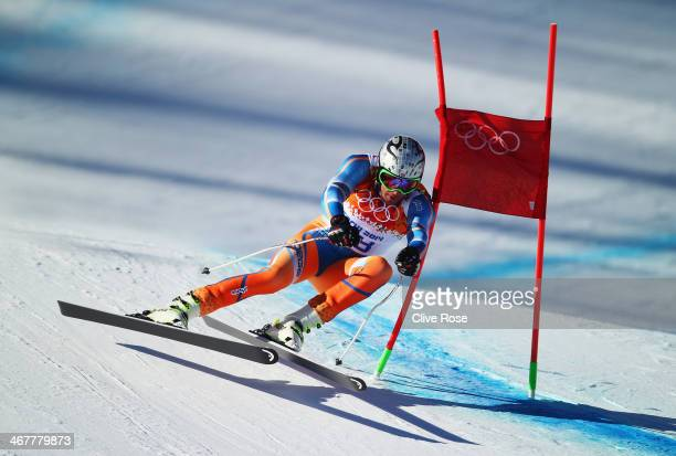 Aksel Lund Svindal of Norway skis during training for the Alpine Skiing Men's Downhill during the Sochi 2014 Winter Olympics at Rosa Khutor Alpine...