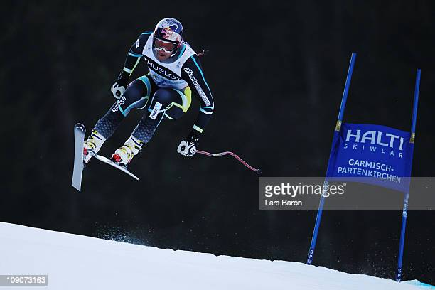 Aksel Lund Svindal of Norway skis in the Downhill segment of the Men's Super Combined during the Alpine FIS Ski World Championships on the Kandahar...