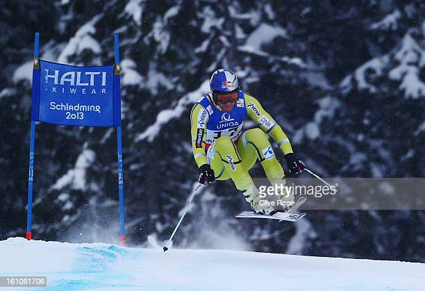 Aksel Lund Svindal of Norway skis in the Men's Downhill during the Alpine FIS Ski World Championships on February 9 2013 in Schladming Austria