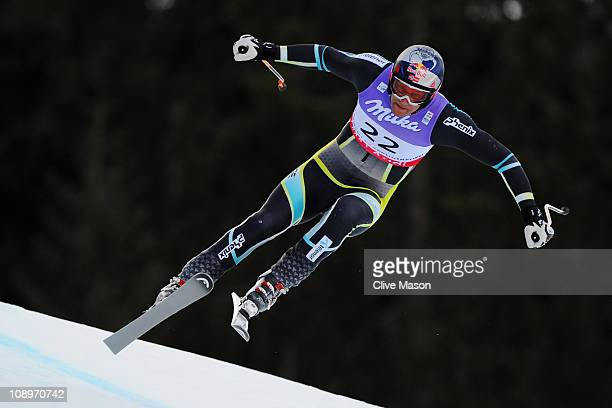 Aksel Lund Svindal of Norway skis in the Men's Downhill Training during the Alpine FIS Ski World Championships on the Kandahar course on February 10...