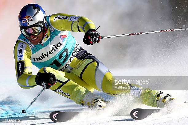Aksel Lund Svindal of Norway skis in the second run of the men's Giant Slalom on the Birds of Prey at the Audi FIS World Cup on December 2 2012 in...