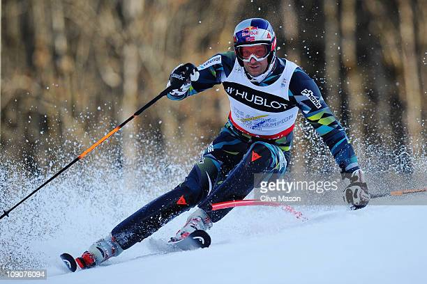 Aksel Lund Svindal of Norway skis in the Slalom segment on his way to winning the Men's Super Combined during the Alpine FIS Ski World Championships...