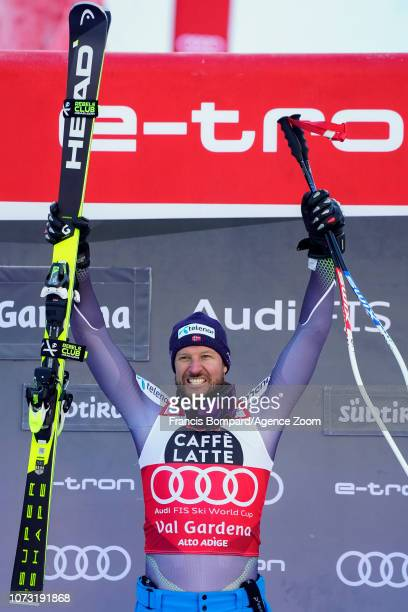 Aksel Lund Svindal of Norway takes 1st place during the Audi FIS Alpine Ski World Cup Men's Super G on December 14 2018 in Val Gardena Italy
