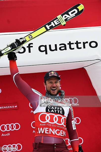 Aksel Lund Svindal of Norway takes 1st place during the Audi FIS Alpine Ski World Cup Men's Downhill on January 16 2016 in Wengen Switzerland