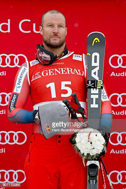 Aksel Lund Svindal of Norway takes 1st place during the Audi FIS Alpine Ski World Cup Men's Super G on January 19 2018 in Kitzbuehel Austria