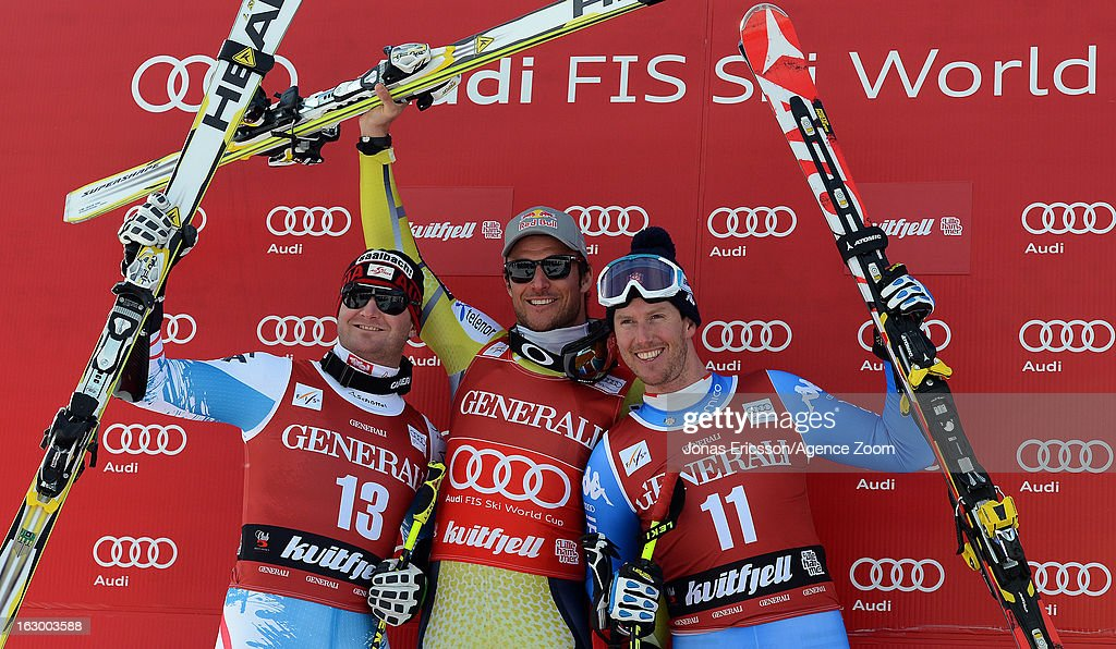Aksel Lund Svindal of Norway takes 1st place, Georg Streitberger of Austria takes 2nd place, Werner Heel of Italy takes 3rd place during the Audi FIS Alpine Ski World Cup Men's SuperG on March 3, 2013 in Kvitfjell, Norway.
