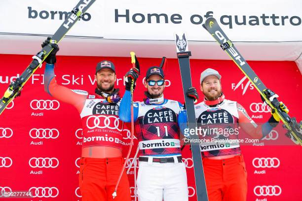 Aksel Lund Svindal of Norway takes 2nd place Dominik Paris of Italy takes 1st place Kjetil Jansrud of Norway takes 3rd place during the Audi FIS...