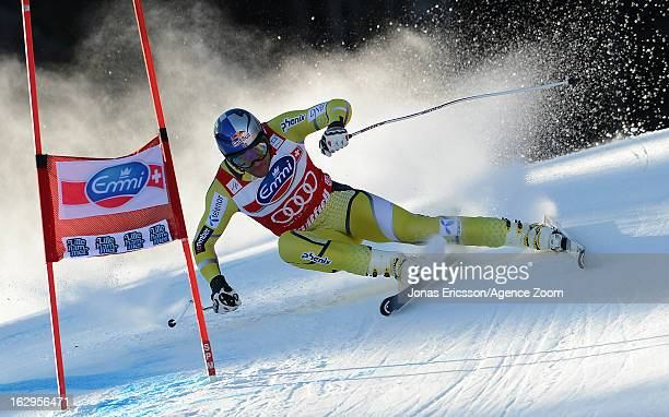 Aksel Lund Svindal of Norway takes 2nd place during the Audi FIS Alpine Ski World Cup Men's Downhill on March 2, 2013 in Kvitfjell, Norway.