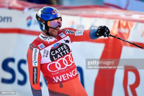Aksel Lund Svindal of Norway takes 2nd place during the Audi FIS Alpine Ski World Cup Men's Downhill on January 13 2018 in Wengen Switzerland