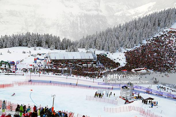 Aksel Lund Svindal of Norway takes the 1st place during the Audi FIS Alpine Ski World Cup Men's Downhill on January 16 2016 in Wengen Switzerland