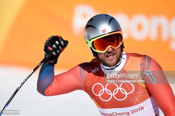Aksel Lund Svindal of Norway wins the gold medal during the Alpine Skiing Men's Downhill at Jeongseon Alpine Centre on February 15 2018 in...