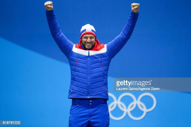 Aksel Lund Svindal of Norway wins the gold medal during the Medal Ceremony for Alpine Skiing Men's Downhill at Medal Plaza on February 15 2018 in...