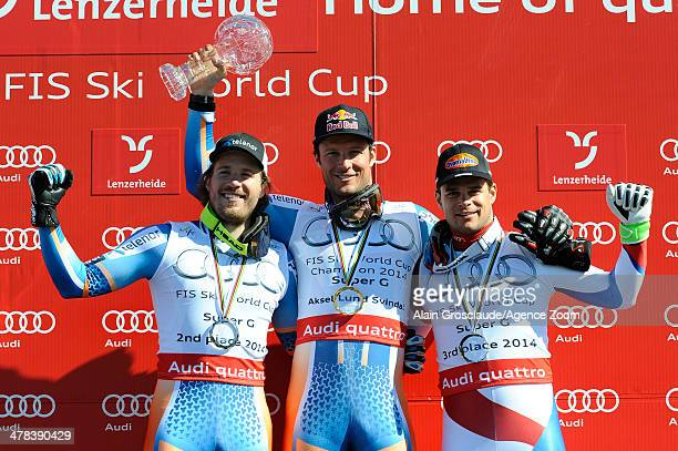 Aksel Lund Svindal of Norway wins the overall World Cup SuperG globe Kjetil Jansrud of Norway takes 2nd place in the overall World Cup SuperG Patrick...