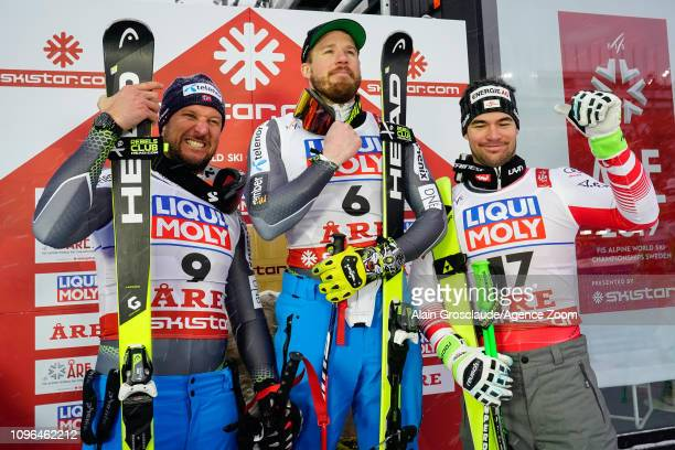 Aksel Lund Svindal of Norway wins the silver medal Kjetil Jansrud of Norway wins the gold medal Vincent Kriechmayr of Austria wins the bronze medal...