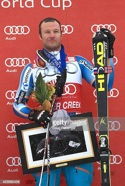 Aksel Lund Svindal poses after winning the men's downhill race for the Birds of Prey Audi FIS Ski World Cup on December 6 2013 in Beaver Creek...