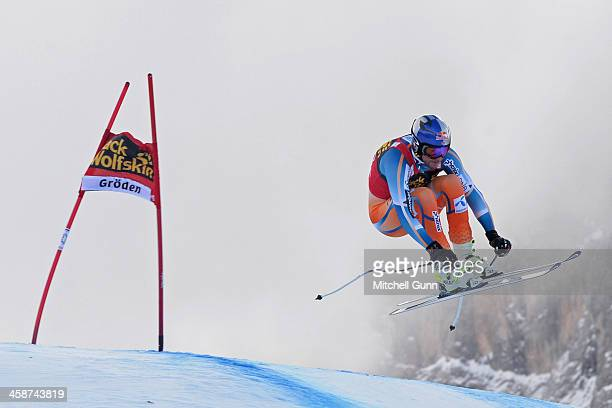 AkselLund Svindal of Norway races down the course during the Audi FIS Alpine Ski World Cup Men's Downhill race on December 21 2013 in Val Gardena...