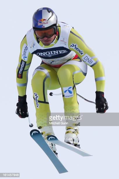AkselLund Svindal of Norway races down the course whilst competing in the downhill section of the Alpine FIS Ski World Championships Super Combined...