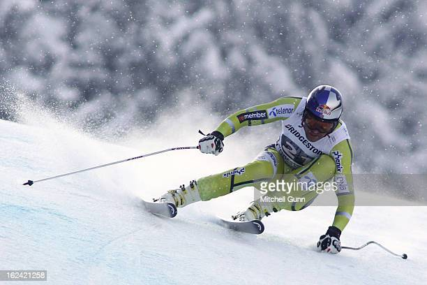 AkselLund Svindal of Norway races down the course whilst competing in the Alpine FIS Ski World Cup downhill race on February 23 2013 in Garmisch...