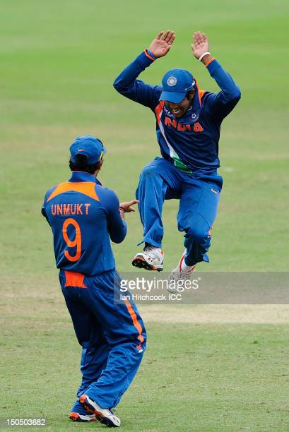 Aksh Deepnath of India celebrates with Unmukt Chand of India after a Pakistan dismissal during the ICC U19 Cricket World Cup 2012 Quarter Final match...