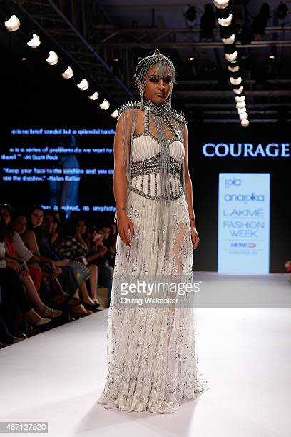 Akshara Haasan walks the runway during the IIKA for Anaiikka show on day 4 of Lakme Fashion Week Summer/Resort 2015 at Palladium Hotel on March 21...