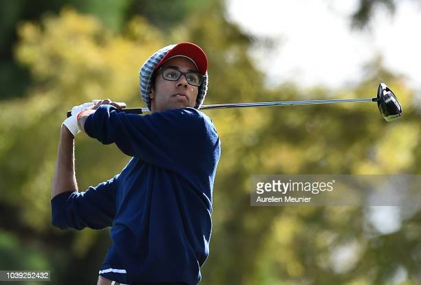 Akshay Bhatia of Team USA plays a shot during the fourballs on day one of the 2018 Junior Ryder Cup at Disneyland Paris on September 24 2018 in Paris...