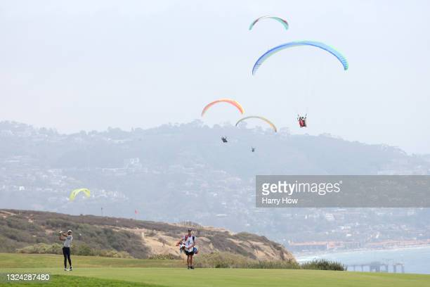 Akshay Bhatia of the United States plays his second shot on the fourth hole during the second round of the 2021 U.S. Open at Torrey Pines Golf Course...
