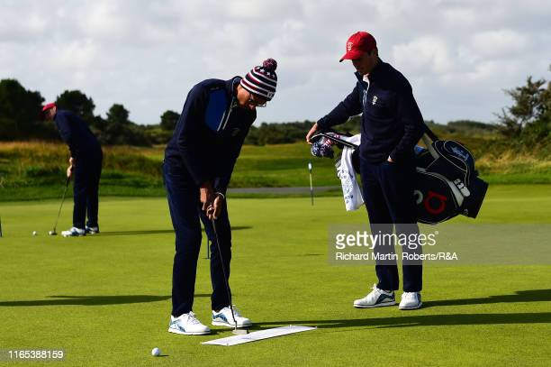 Akshay Bhatia of the United States practices putting during a practice round at Royal Birkdale Golf Club prior to the 2019 Walker Cup on September 1...