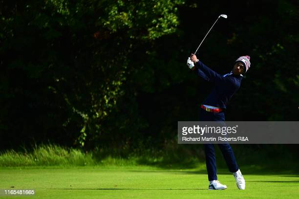 Akshay Bhatia of the United States tees off on the 5th hole during a practice round at Royal Birkdale Golf Club prior to the 2019 Walker Cup on...