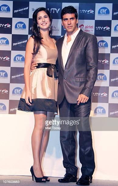 Akshay Kumar and Katrina Kaif at a promotional event for the film Tees Maar Khan in Mumbai on December 13 2010