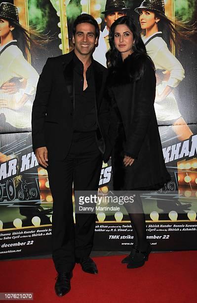 Akshay Kumar and Katrina Kaif attend the Bollywood film premiere 'Tees Maar Khan' at Cineworld Feltham on December 15 2010 in London England