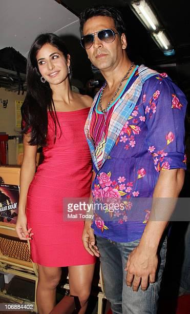 Akshay Kumar and Katrina Kaif during the music launch of the film 'Tees Maar Khan' inside a train in Mumbai on November 14 2010