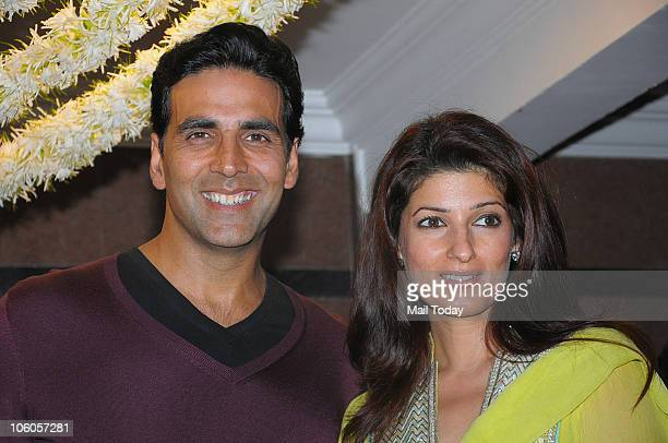 Akshay Kumar and Twinkle Khanna at a Karva Chauth celebration party in Mumbai on October 25 2010