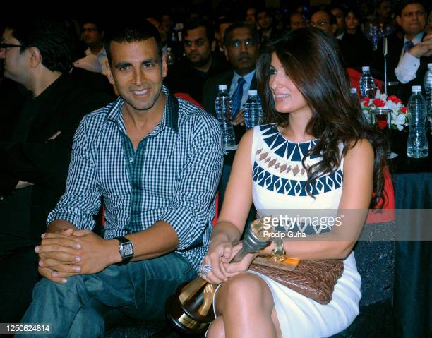 Akshay Kumar and Twinkle Khanna attend the CNBC Awards on September 26 2008 in Mumbai India