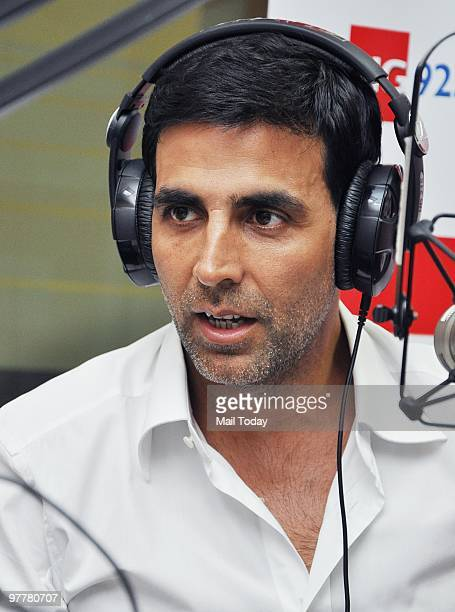 Akshay Kumar at the studios of a radio station in Mumbai on March 15 2010