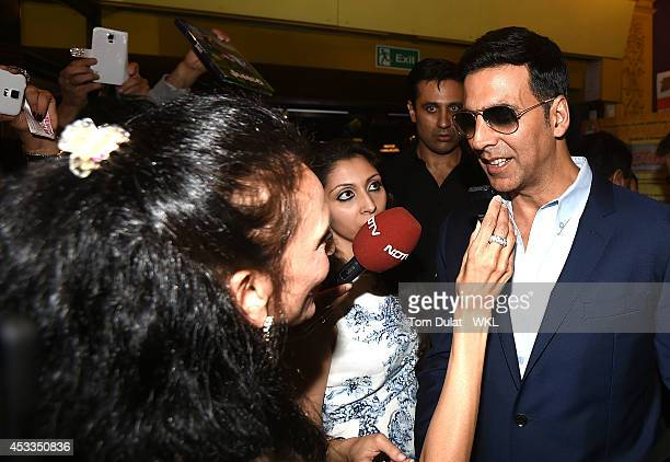Akshay Kumar Bollywood actor and coowner of the Khalsa Warriors Team with WKL at the World Premiere of 'Entertainment' at Cineworld on August 8 2014...