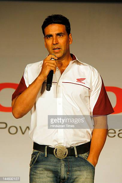 Akshay Kumar brand ambassador for Honda motorcycle Scooter India Pvt Ltd addresses the media during the launch of Honda's 110cc motorcycle 'Dream...