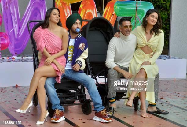 Akshay Kumar Diljit Dosanjh Kiara Advani and Kareena Kapoor at the trailer launch of their film Good Newwz in Mumbai