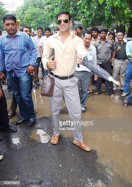 Akshay Kumar duing a promotional event for his forthcoming film Khatta Meetha in Mumbai on July 11 2010