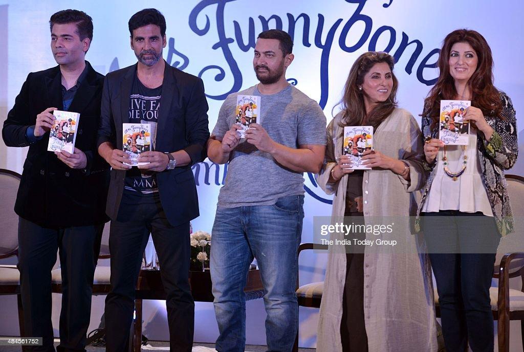 Akshay Kumar Karan Johar Dimple Kapadia and Aamir Khan Twinkle Khanna at the launch of her book Mrs Funnybones in Mumbai