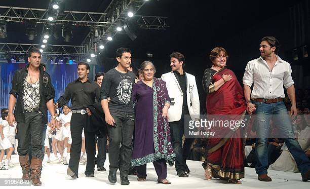 Akshay Kumar Salman Khan Aamir Khan Salman's mother Salma Arbaz Khan Helen and Sohail Khan walk the ramp in support of fellow actor Salman Khan's...