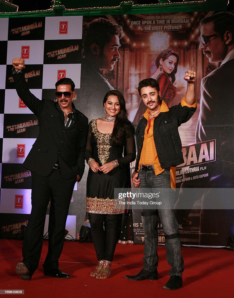 Akshay Kumar Sonakshi Sinha and Imran Khan during the launch of the first look of the movie 'Once Upon a Time in Mumbai Again' on 29th May 2013 in...